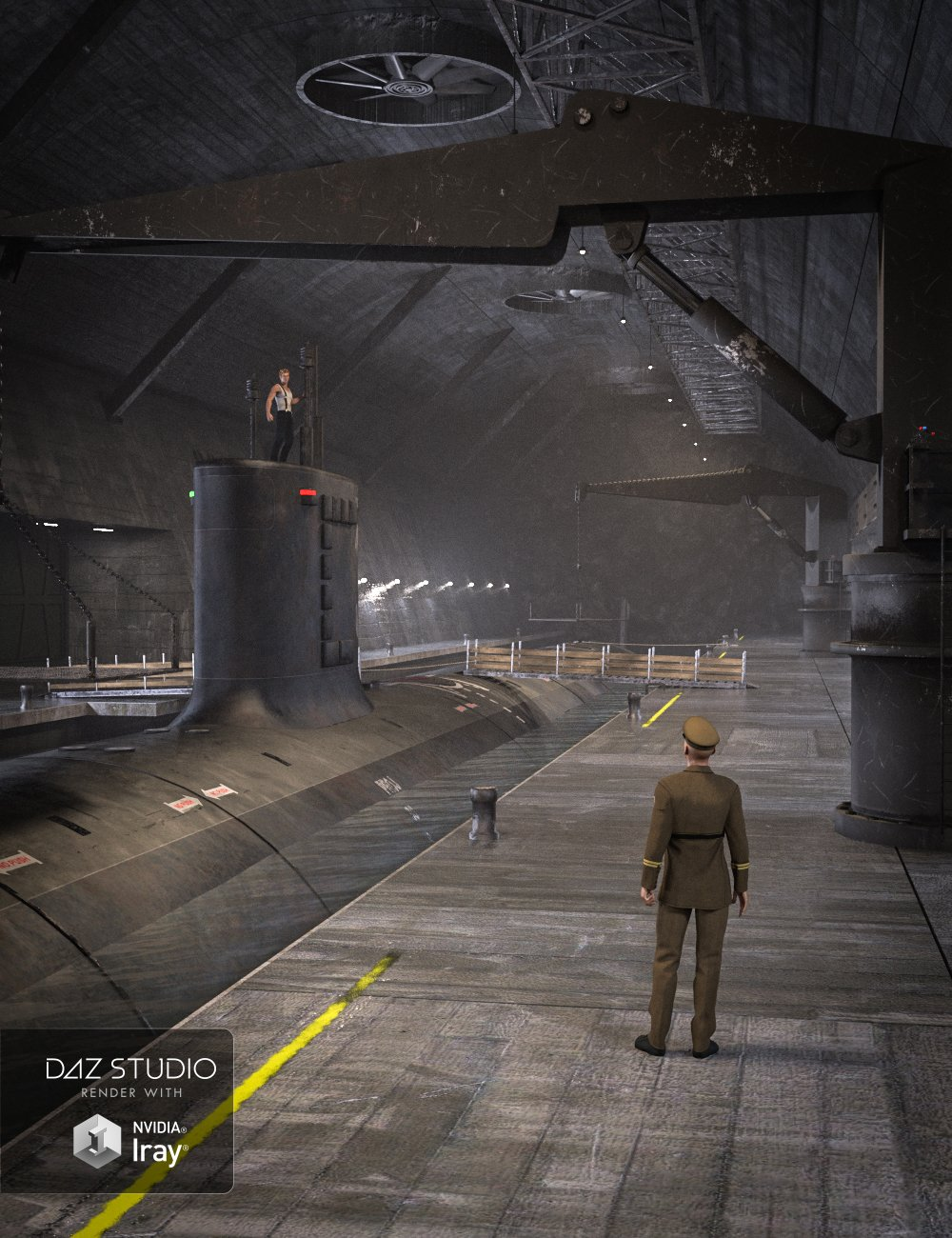 Secret Underground Base and Submarine by: Mely3D, 3D Models by Daz 3D