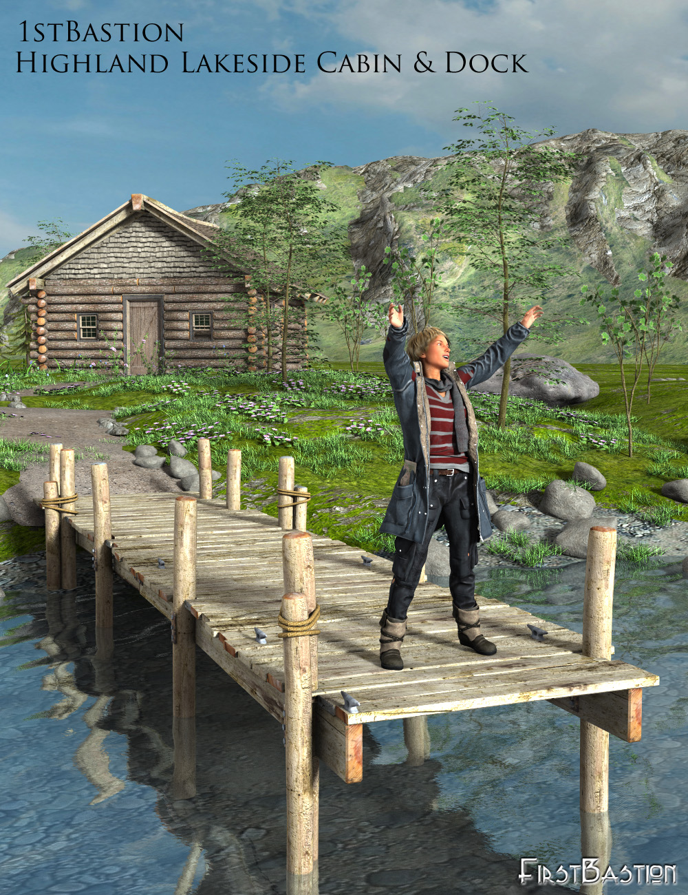 1stBastions Highland Lakeside Cabin and Dock by: FirstBastion, 3D Models by Daz 3D