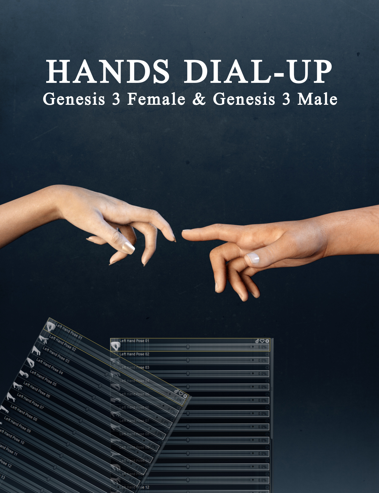 Hands Dial-up for Genesis 3 Male and Female by: Neikdian, 3D Models by Daz 3D