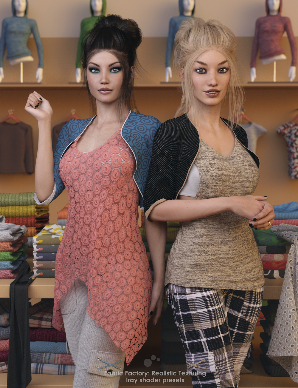 Fabric Factory: Realistic Texturing - Iray Shader Presets by: valzheimer, 3D Models by Daz 3D
