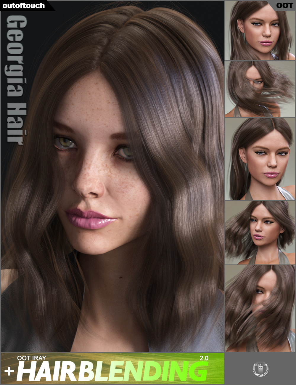 Georgia Hair and OOT Hairblending 2.0 for Genesis 3 Female(s) by: outoftouch, 3D Models by Daz 3D