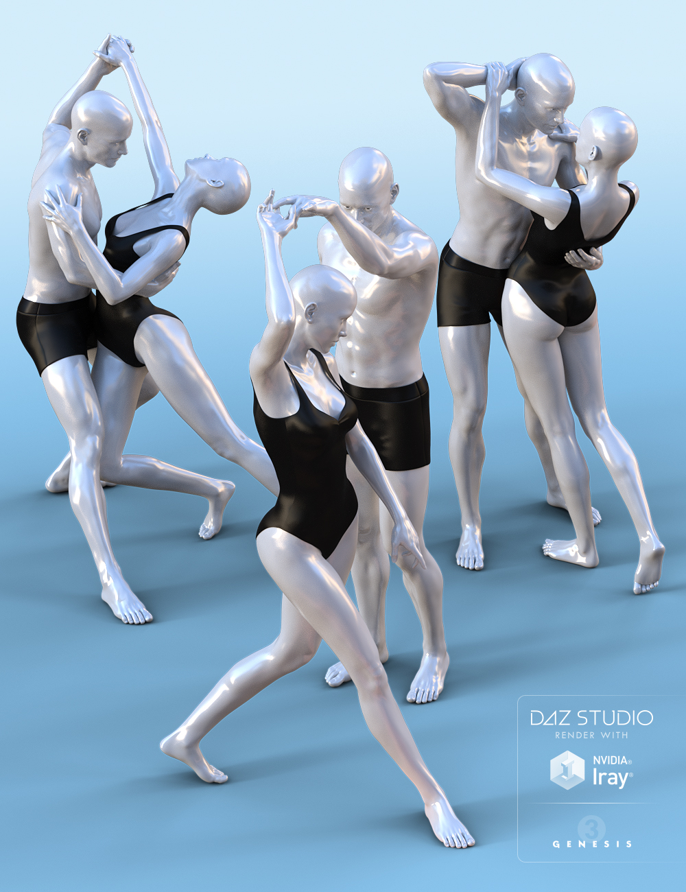 Enchanted Dance Poses for Michael 7 and Victoria 7 by: Devon, 3D Models by Daz 3D