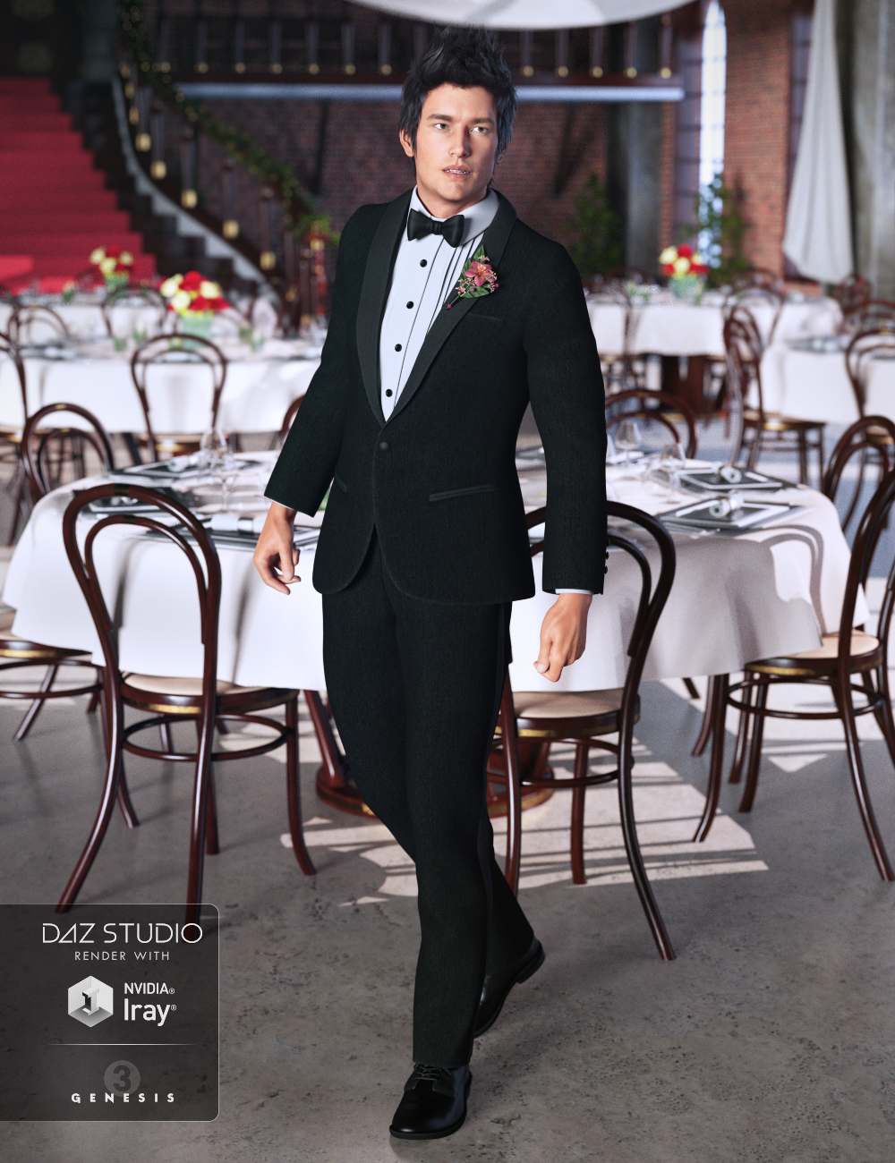 Classic Tuxedo for Genesis 3 Male(s) by: Anna BenjaminMada, 3D Models by Daz 3D