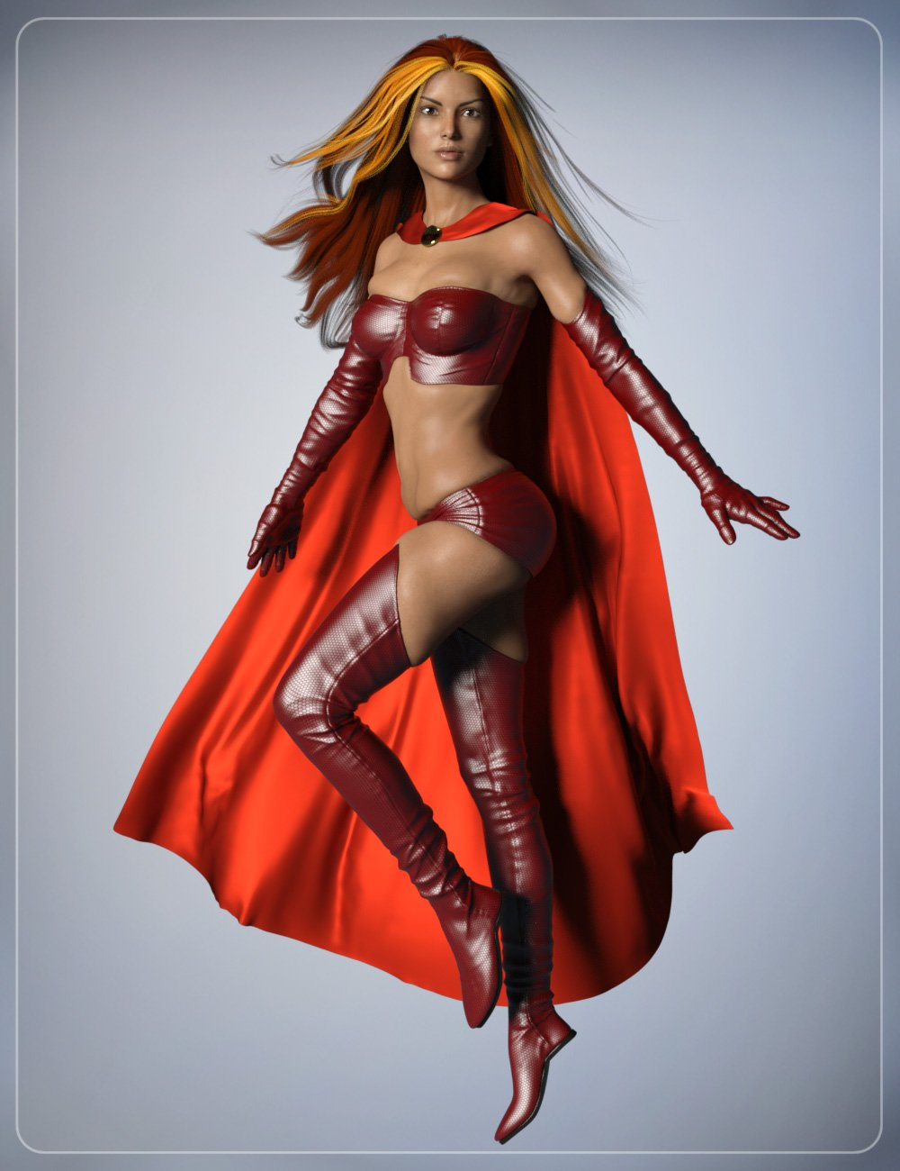 Super Cloak and Superhero Poses for Genesis 3 Female(s) by: smay, 3D Models by Daz 3D