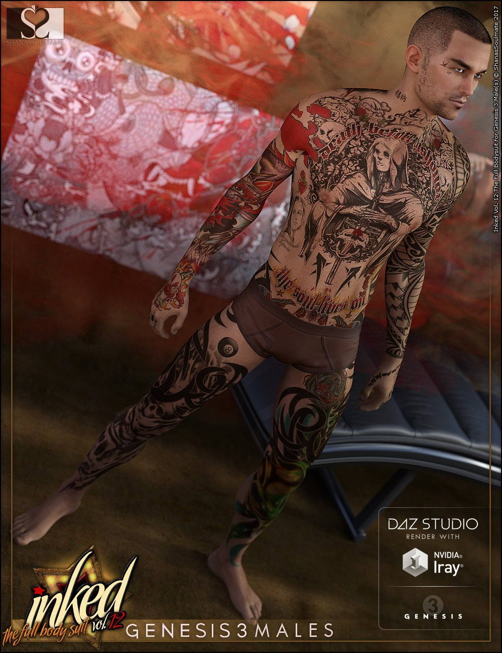 Inked Vol.12: The Full Bodysuit for Genesis 3 Male(s) by: ShanasSoulmate, 3D Models by Daz 3D