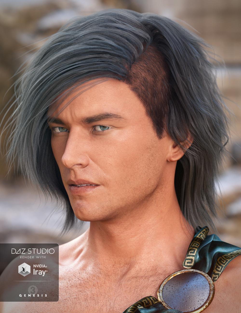 Declan Hair for Genesis 3 Male(s) by: 3DCelebrity, 3D Models by Daz 3D