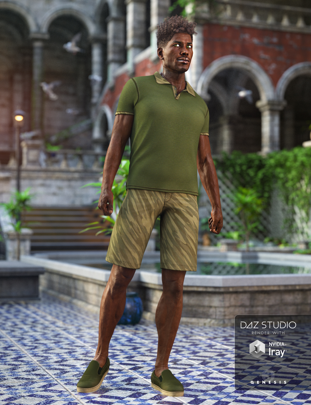 Spring Polo Outfit for Genesis 3 Male(s) by: NikisatezArien, 3D Models by Daz 3D