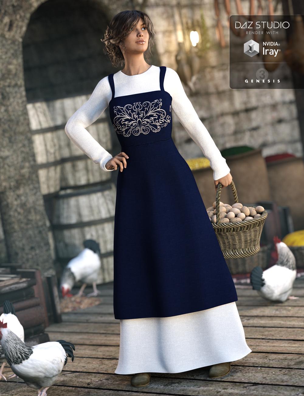 Peasant Dress for Genesis 3 Female(s) by: JGreenleesPoisenedLilyRavenhair, 3D Models by Daz 3D