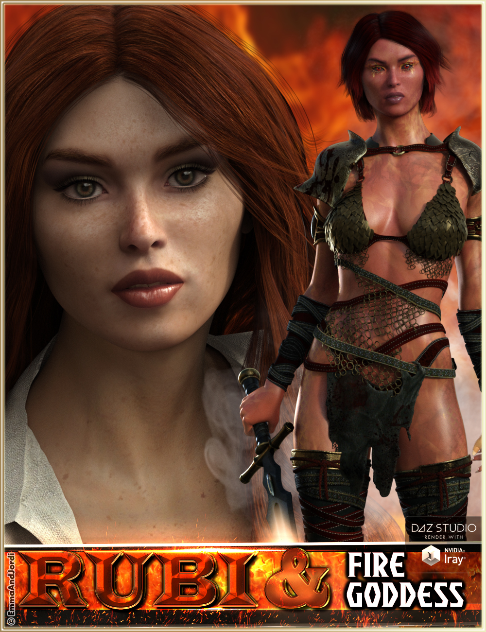 EJ Rubi and Fire Goddess for Genesis 3 Female by: EmmaAndJordi, 3D Models by Daz 3D