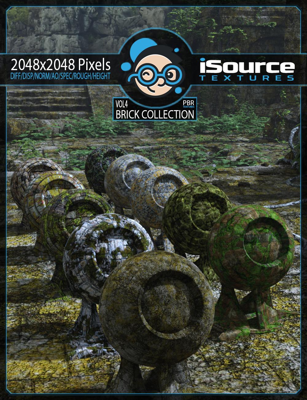Brick Collection Merchant Resource - Vol4 (PBR Textures) by: iSourceTextures, 3D Models by Daz 3D