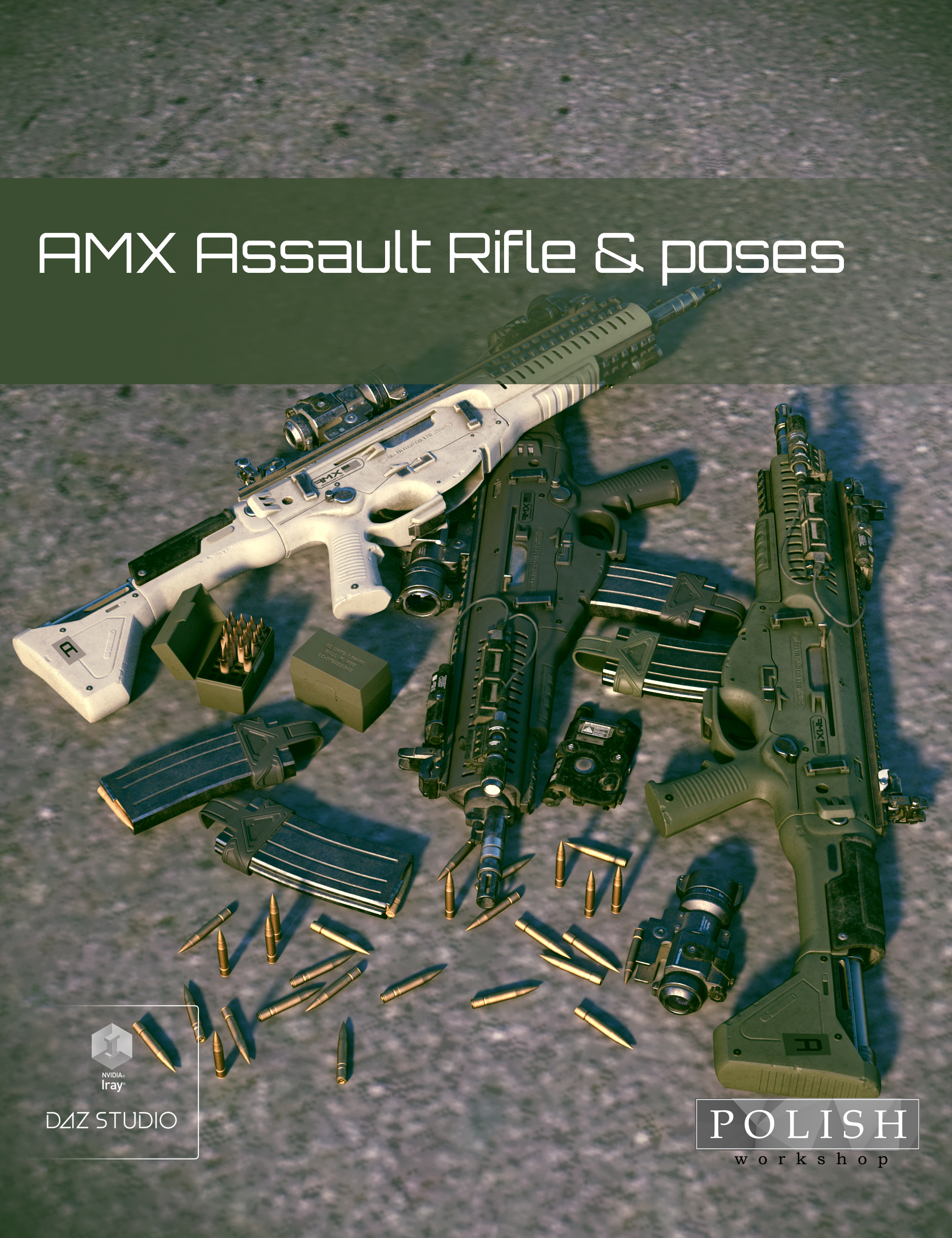 AMX Assault Rifle and Poses by: Polish, 3D Models by Daz 3D