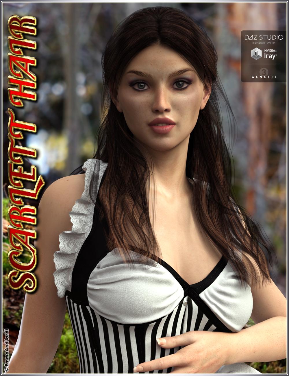 Scarlett Hair for Genesis 3 Female(s) by: EmmaAndJordi, 3D Models by Daz 3D