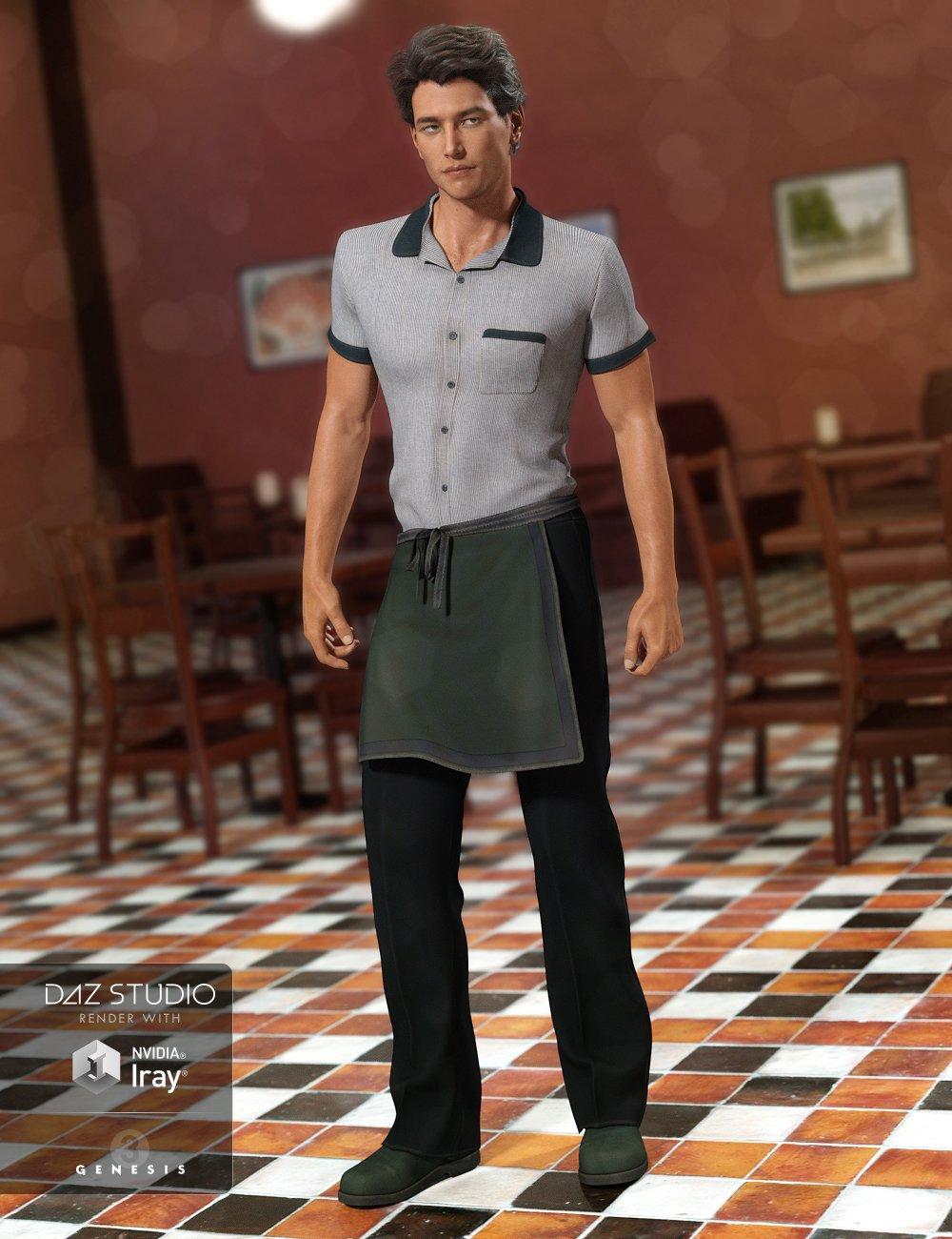 Restaurant Waiter Uniform for Genesis 3 Male(s) by: NikisatezArien, 3D Models by Daz 3D