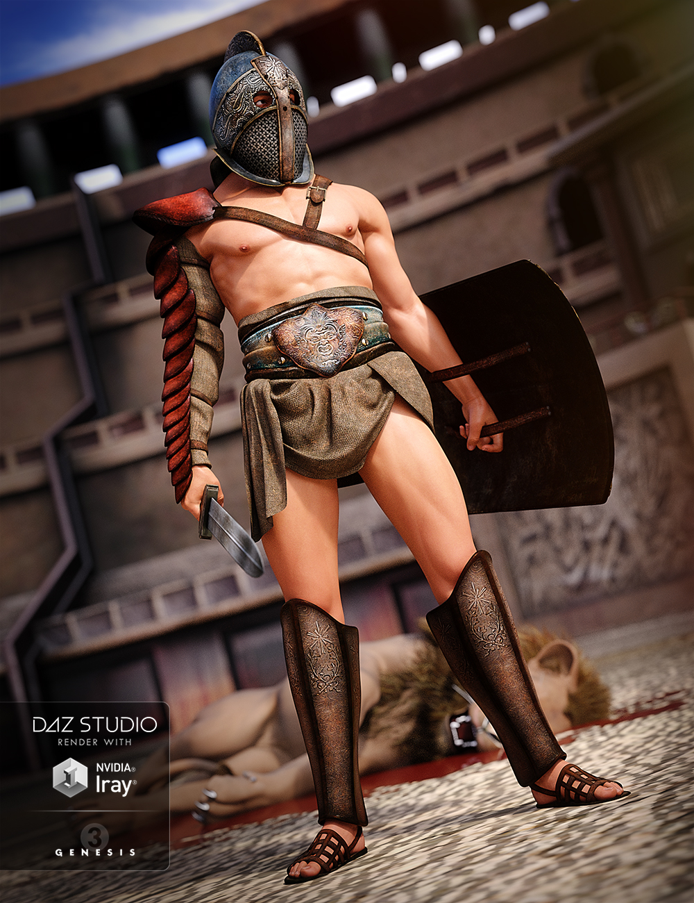 Thracian Gladiator Outfit for Genesis 3 Male(s) by: NikisatezDirtyFairy, 3D Models by Daz 3D