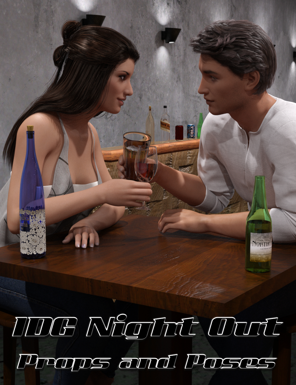 IDG Night Out Props and Poses by: IDG DesignsDestinysGardenInaneGlory, 3D Models by Daz 3D