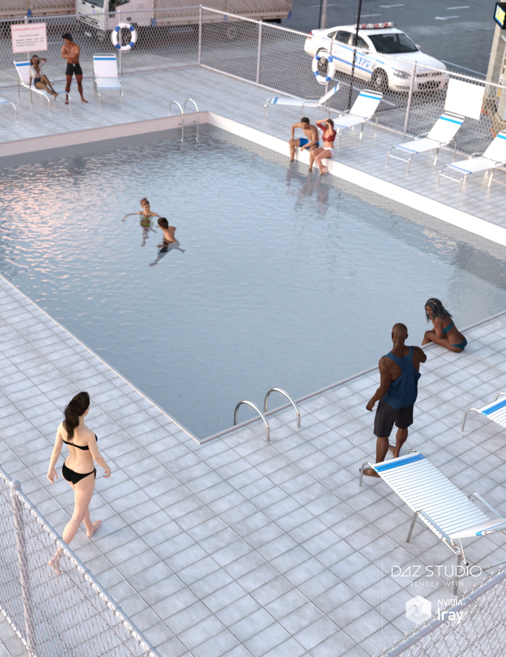 Public Outdoor Pool by: , 3D Models by Daz 3D