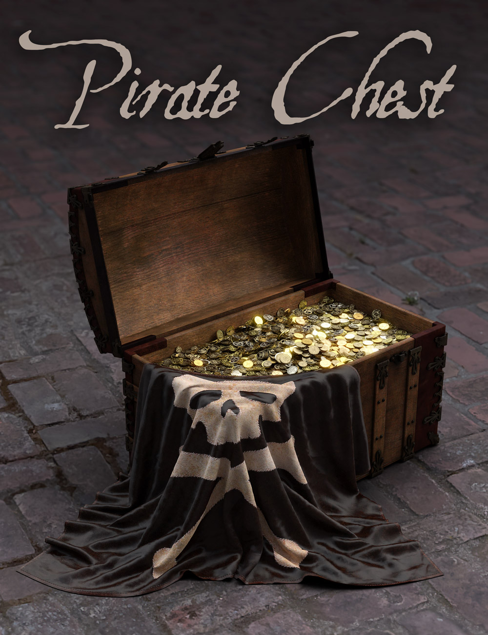 Pirate Treasure Chest, Coins and Flag by: Age of Armour, 3D Models by Daz 3D
