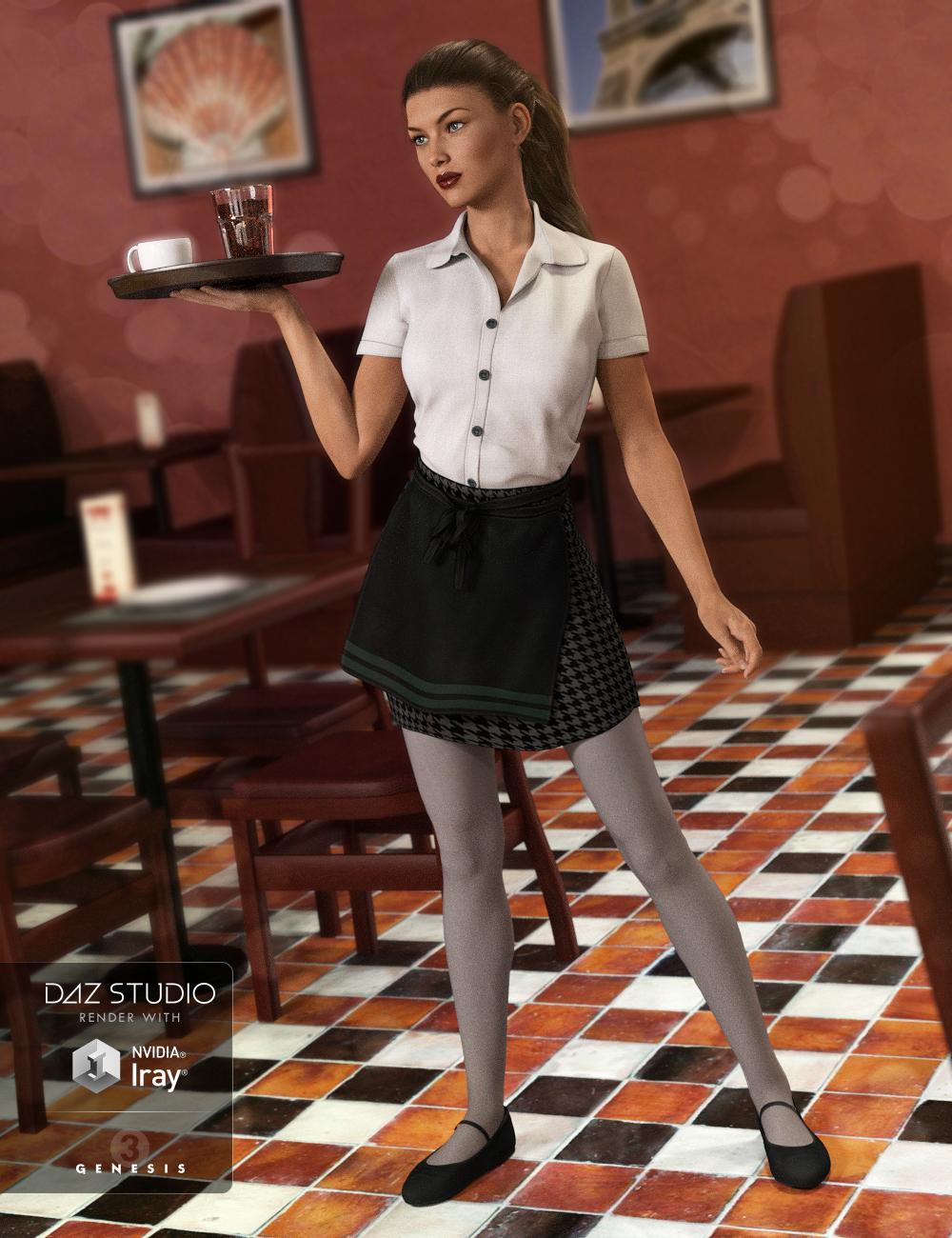 Restaurant Waitress Uniform for Genesis 3 Female(s) by: NikisatezArien, 3D Models by Daz 3D
