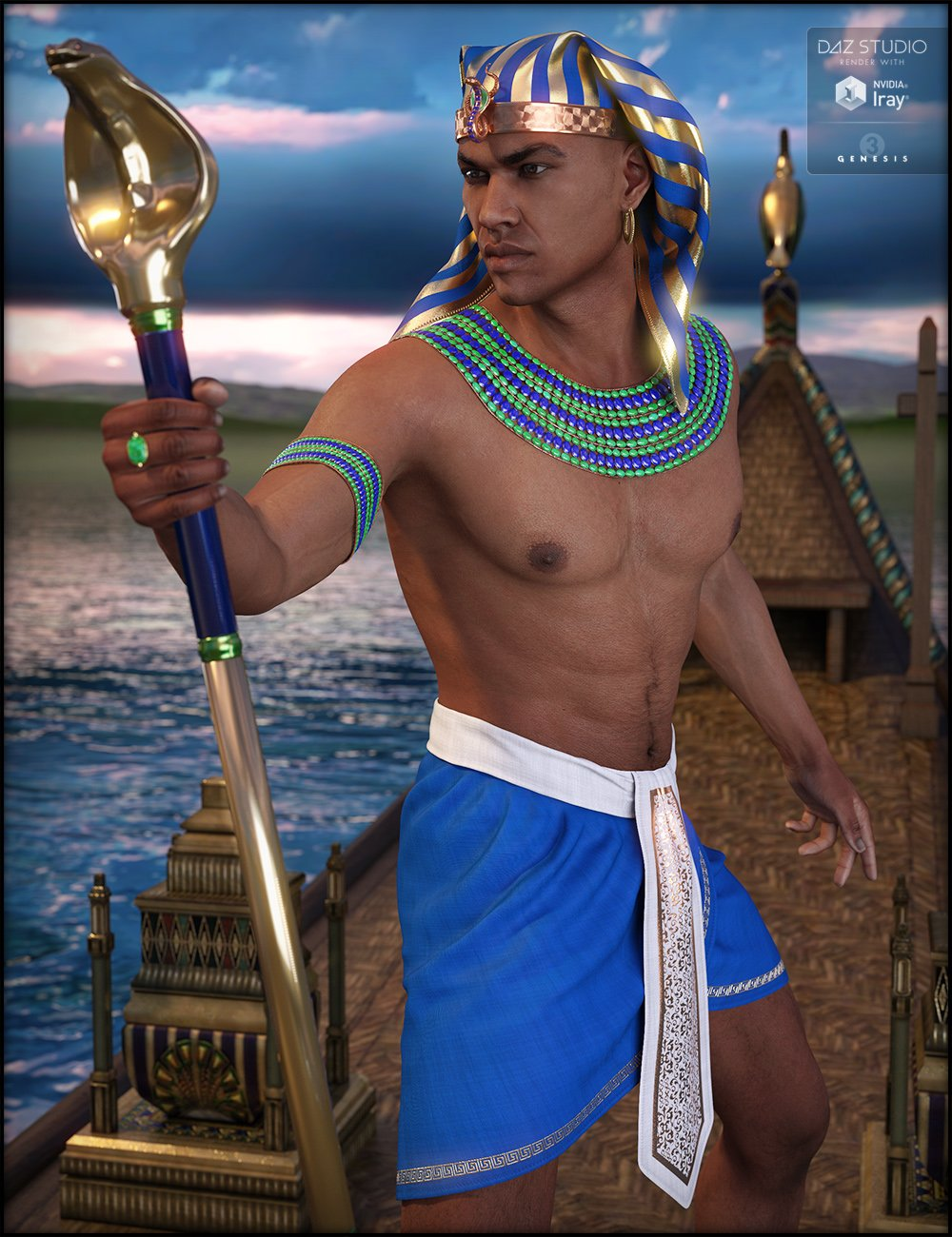 Egyptian Outfit for Genesis 3 Male(s) by: Fisty & Darc, 3D Models by Daz 3D