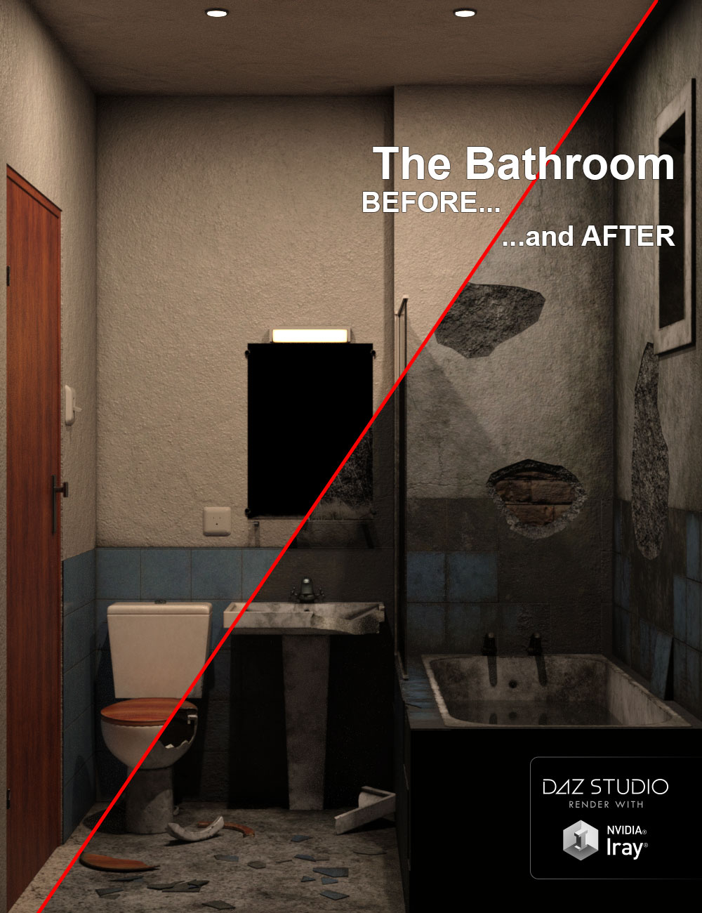 The Bathroom, BEFORE and AFTER... by: ile-avalon, 3D Models by Daz 3D