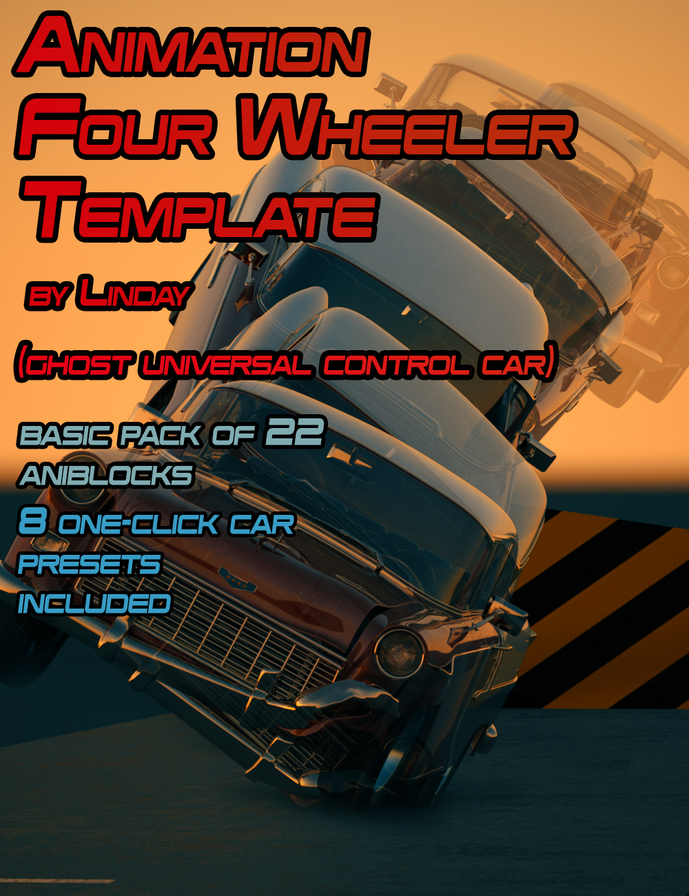 Animation Four Wheeler Template by: Linday, 3D Models by Daz 3D