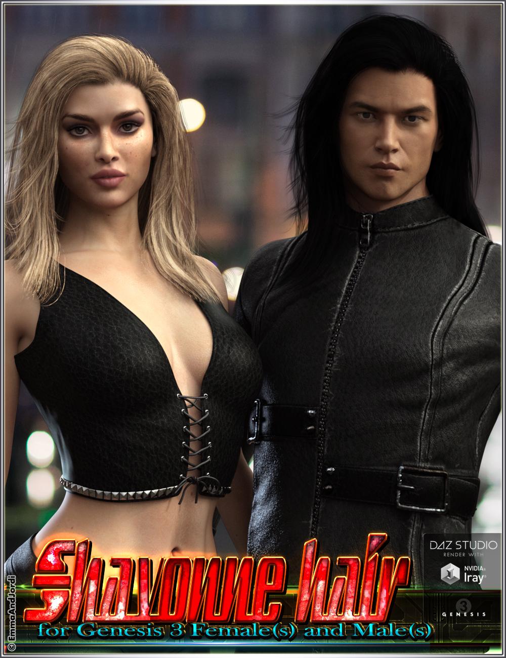 Shavonne Hair for Genesis 3 Female(s) and Male(s) by: EmmaAndJordi, 3D Models by Daz 3D