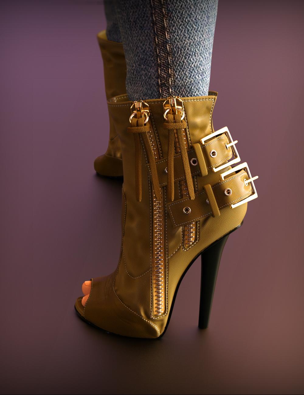 Double Zipper Buckle Boots for Genesis 3 Female(s) by: chungdan, 3D Models by Daz 3D