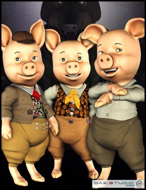 The 3 Little Pigs by: 3D Universe, 3D Models by Daz 3D