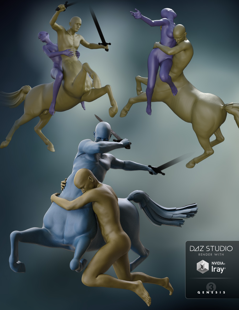 Centaur 7 Male Poses with Victoria 7 and Michael 7 by: breezeaurora, 3D Models by Daz 3D