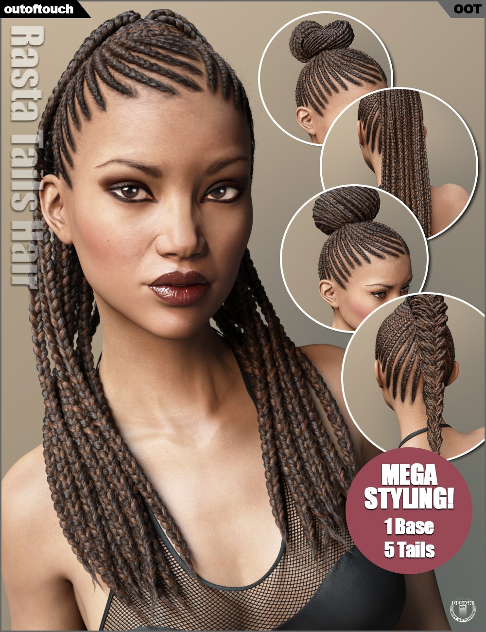 Rasta Tails Hair and OOT Hairblending 2.0 for Genesis 3 Female(s) by: outoftouch, 3D Models by Daz 3D