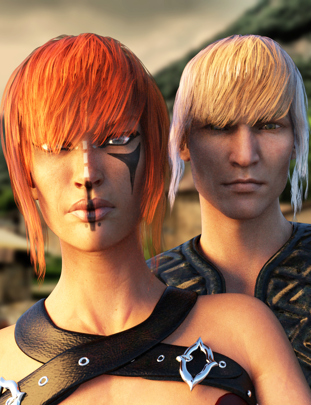 Kokoro Hair for Genesis 3 Female(s) and Male(s) by: Larisha, 3D Models by Daz 3D