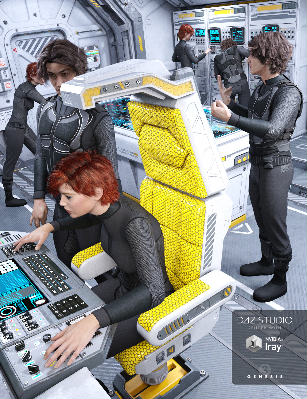 Sci-fi Cockpit Interior Poses by: Three Wishes, 3D Models by Daz 3D