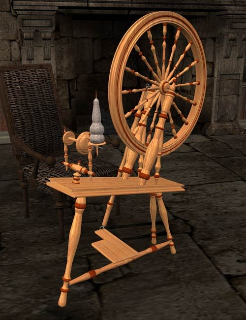 Spinning Wheel by: IsauraS, 3D Models by Daz 3D