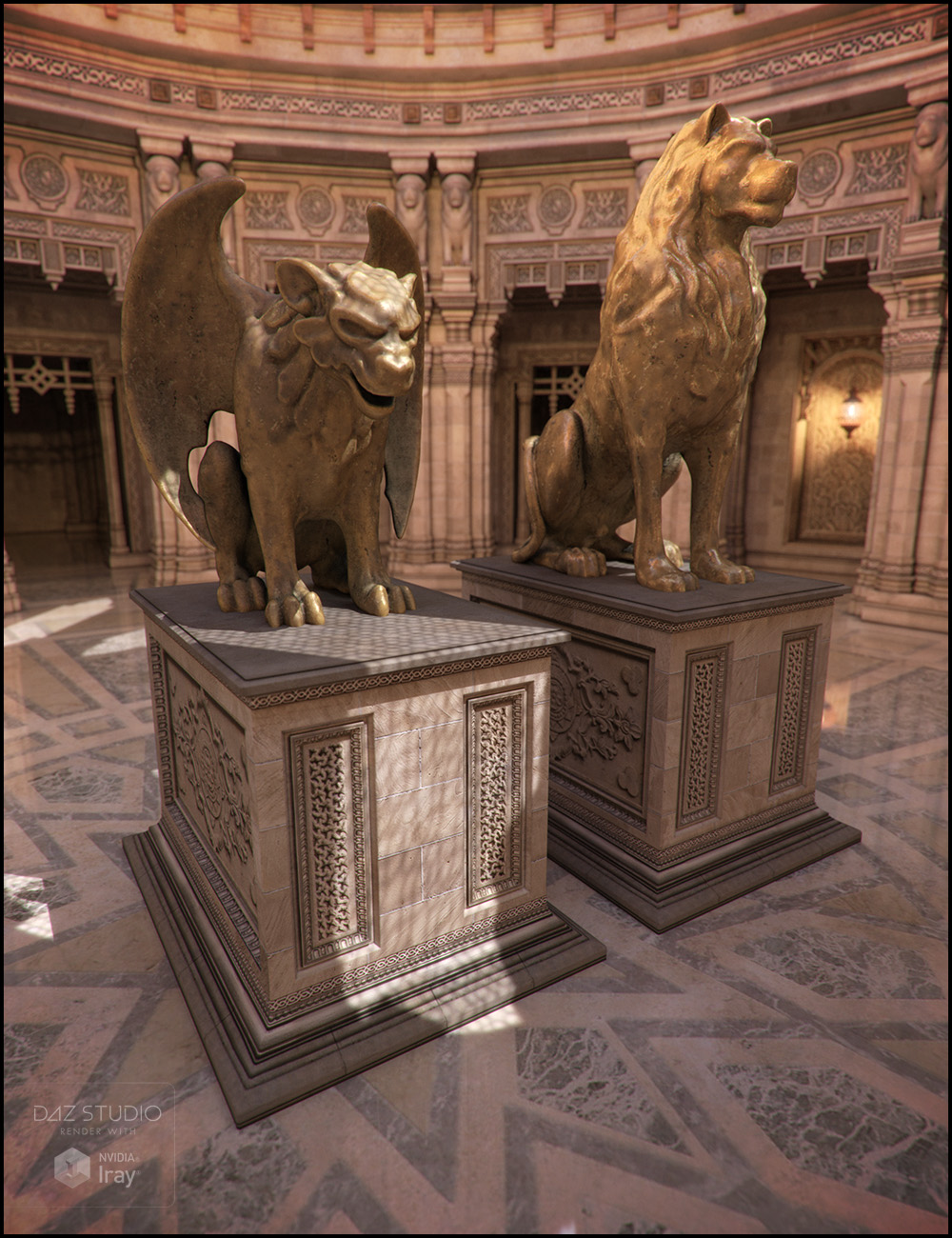 Aslan Statues by: Jack Tomalin, 3D Models by Daz 3D