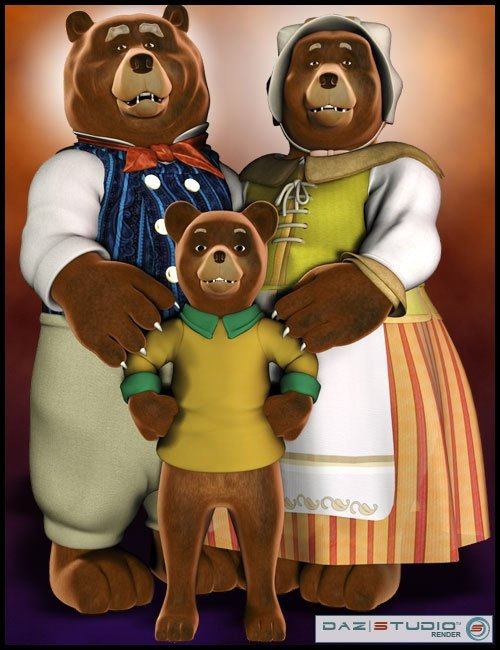The 3 Bears by: 3D Universe, 3D Models by Daz 3D