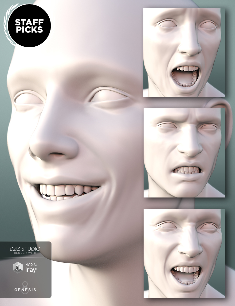 Genesis 8 Male Expressions by: , 3D Models by Daz 3D
