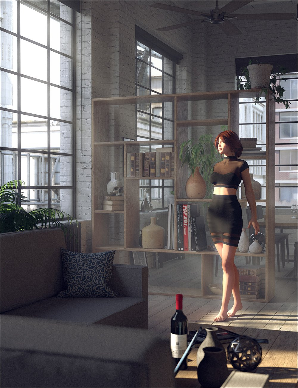 Downtown Loft : Living Area by: Stonemason, 3D Models by Daz 3D