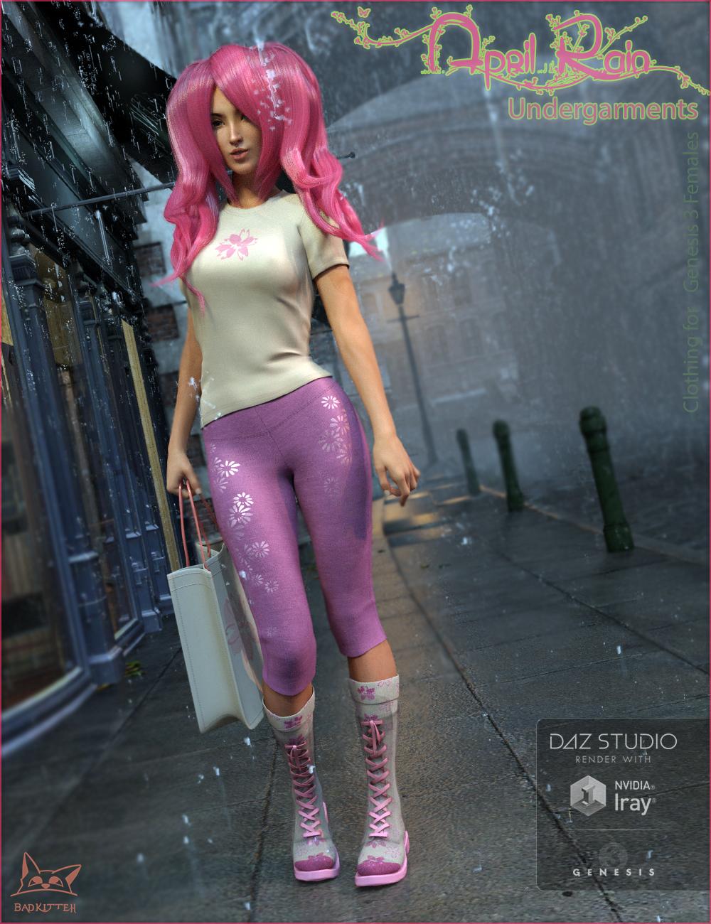 April Rain Undergarments for Genesis 3 Female(s) by: BadKitteh Co, 3D Models by Daz 3D