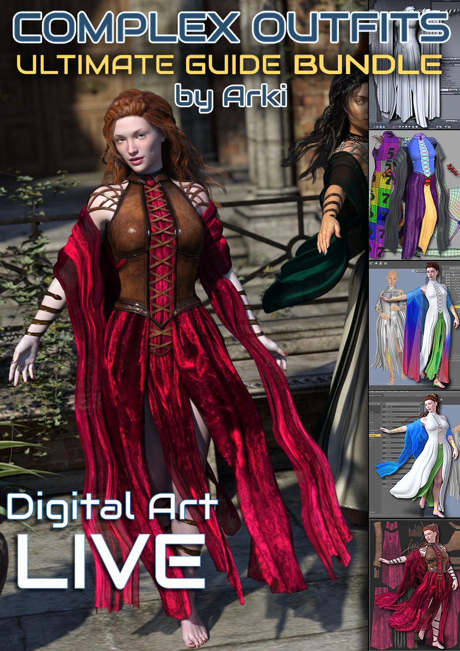 The Ultimate Guide to Creating Complex Outfits Bundle by: Digital Art LiveArkiCgan, 3D Models by Daz 3D