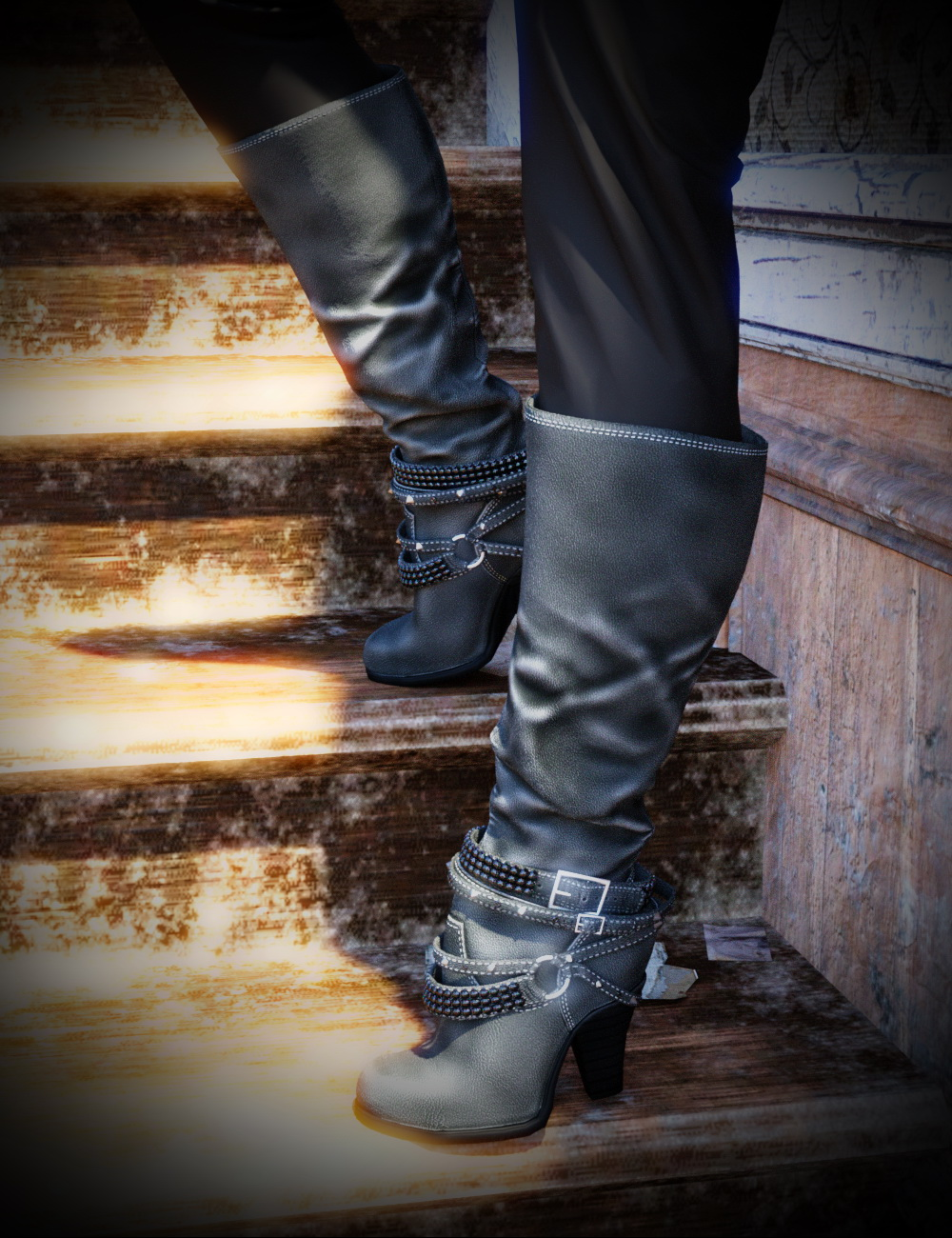 Diamond & Studs Boots for Genesis 3 Female(s) by: chungdan, 3D Models by Daz 3D