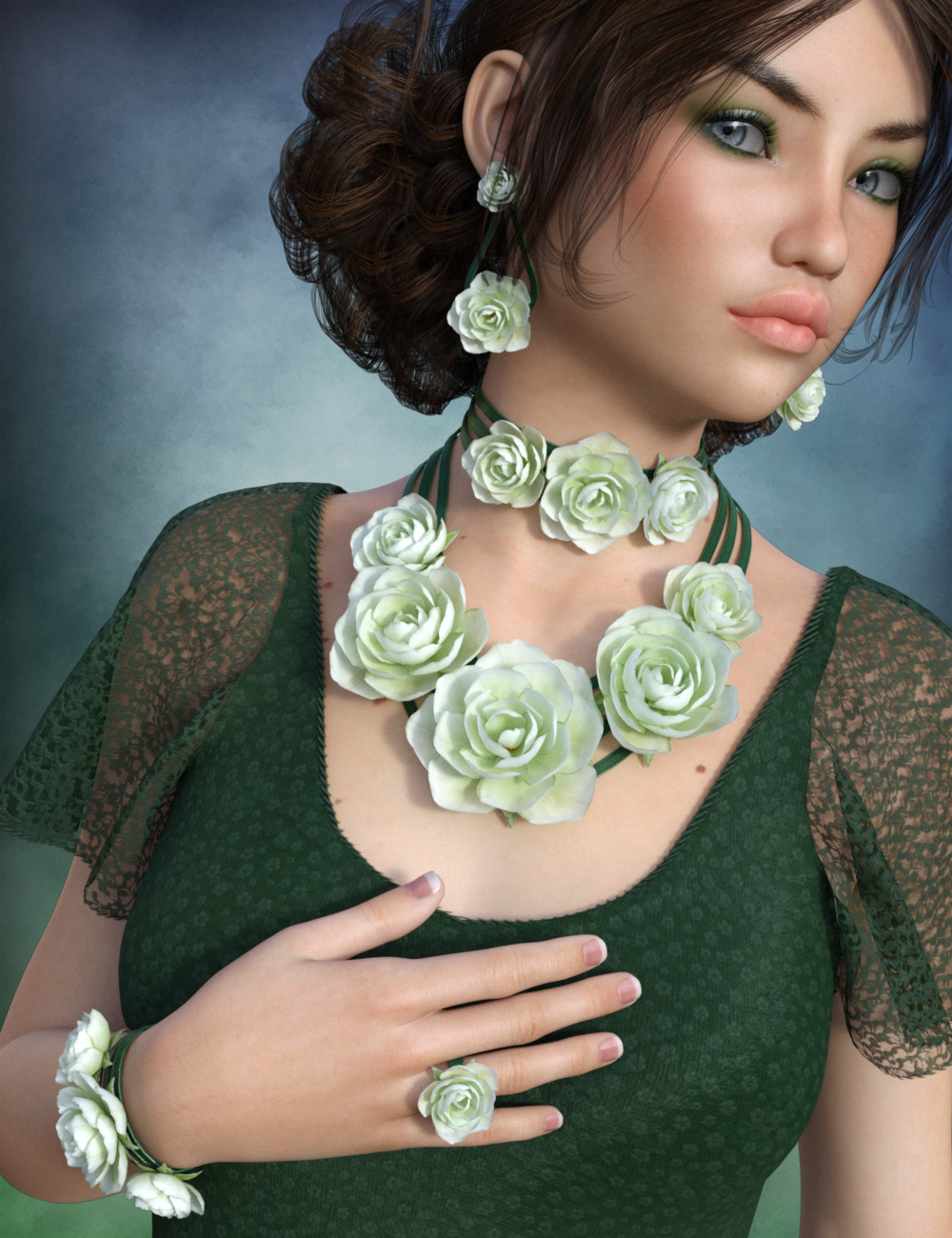 Rose Jewelry for Genesis 3 Female(s) by: esha, 3D Models by Daz 3D