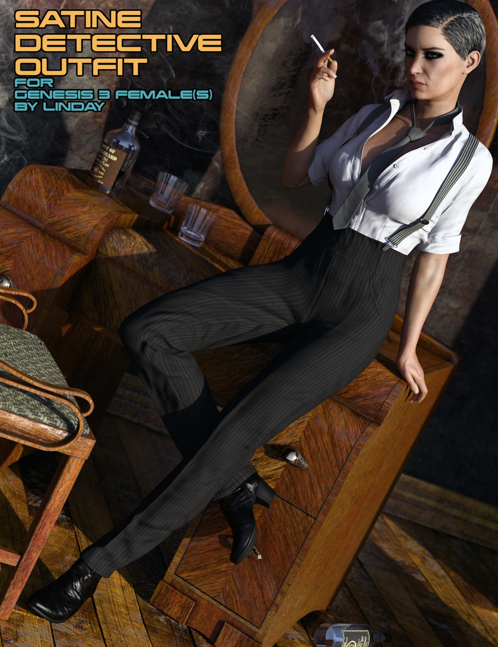 Satine Detective Outfit for Genesis 3 Female(s) by: Linday, 3D Models by Daz 3D