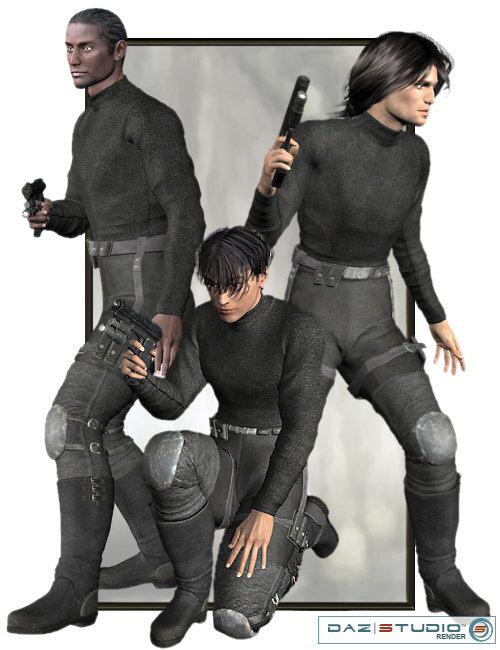 Shadow Dancer Bundle for Hiro 3.0, David and M3 by: Lourdes, 3D Models by Daz 3D