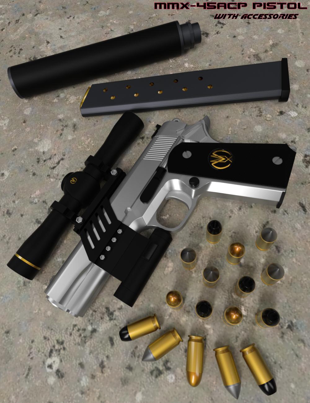 MMX-45ACP Pistol with Accessories by: Mattymanx, 3D Models by Daz 3D