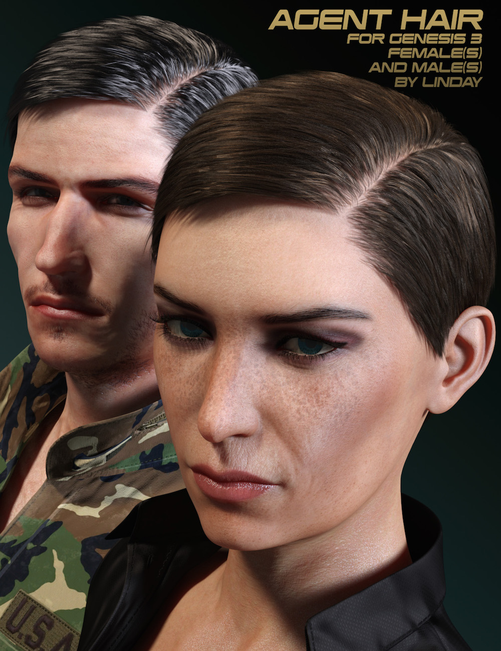 Agent Hair for Genesis 3 Female(s) and Male(s) by: Linday, 3D Models by Daz 3D