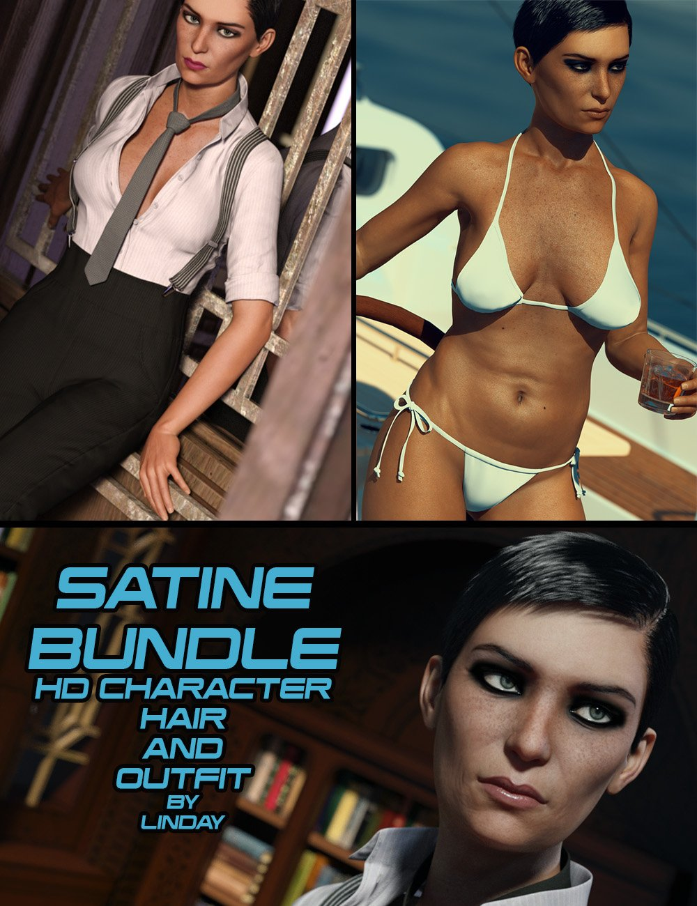 Satine Bundle for Genesis 3 Female(s) by: Linday, 3D Models by Daz 3D