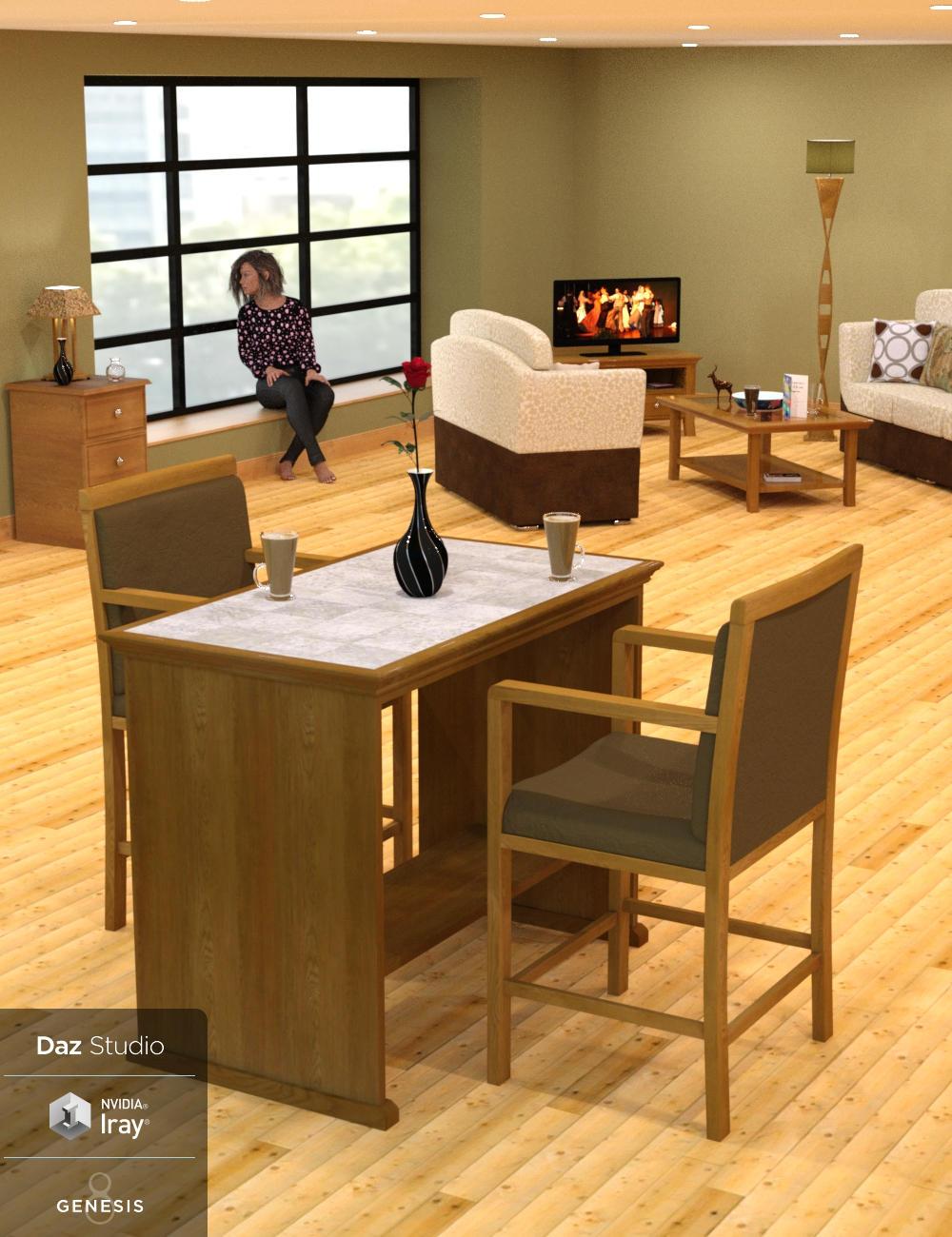 London Apartment - Lounge Area by: Wee Dangerous John, 3D Models by Daz 3D