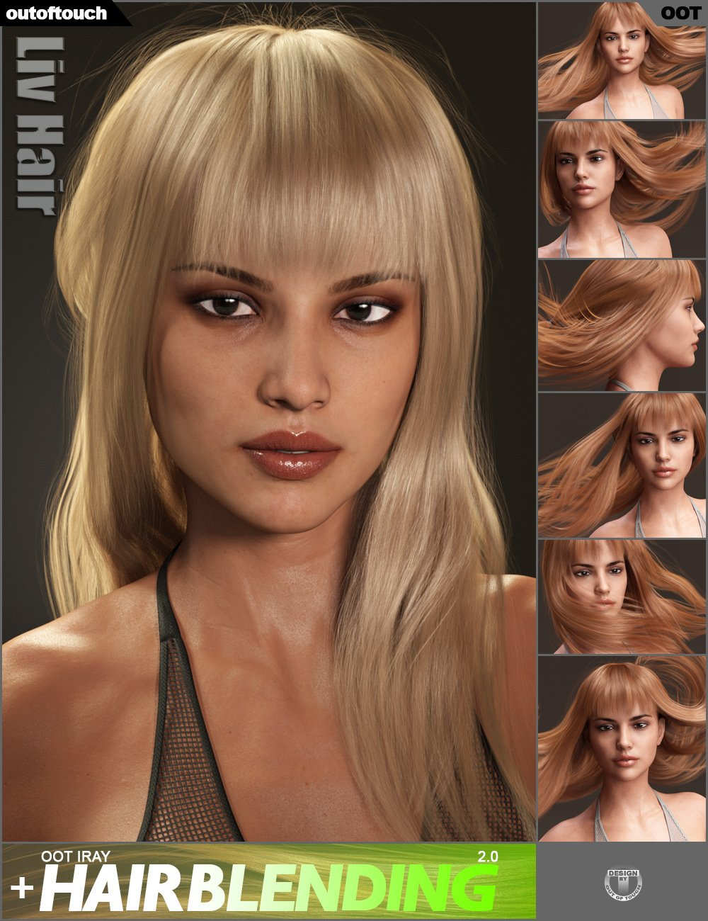 Liv Hair for Genesis 3 Female(s) and Genesis 8 Female(s) by: outoftouch, 3D Models by Daz 3D