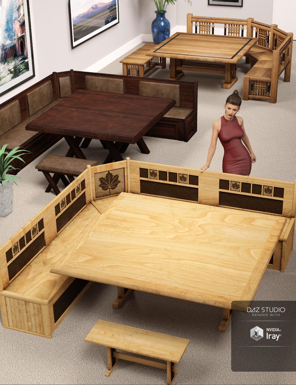 Breakfast Nook Furniture by: ARTCollab, 3D Models by Daz 3D