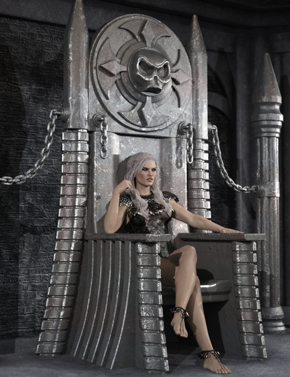 Dark Fantasy Throne and Poses for Genesis 3 Male and Female by: Nightshift3D, 3D Models by Daz 3D
